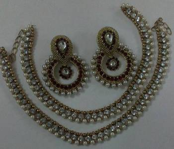 Designer Maroon colour Earings with Traditional Pearl Anklets