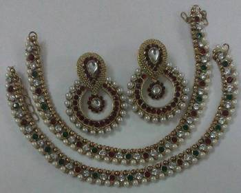 Designer Maroon colour Earings with Traditional Multi colour Anklets