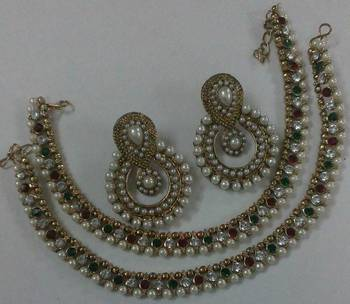 Designer Pearl Earings with Traditional Multi colour Anklets