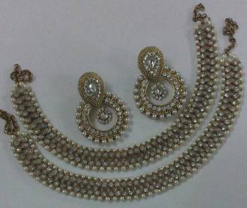 Designer Pearl Earings with Traditional Anklets