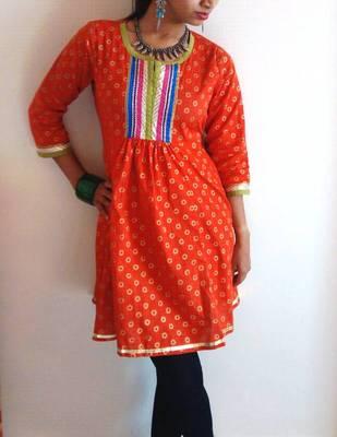 Designer Gold-Orange Kurti