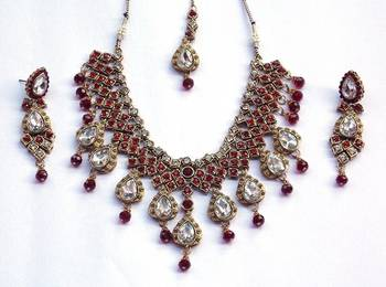 Indian bridal zircon and colored stone stud royal vintage necklace set