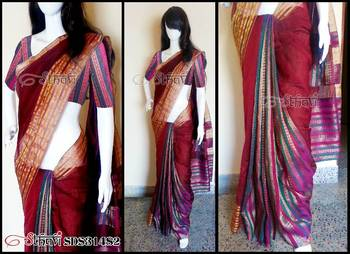 Meroon Cotton Silk Saree