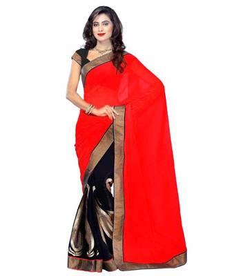 ca2385d882a8fc Mandira bedi stylish black, hot Red & Black Partywear saree - Sareez House  - 180038