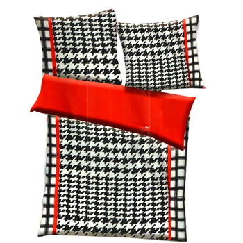 Black, White  And  Red Polyester Checkered Print Double Bed Ac Quilt