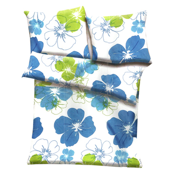White, Blue  And  Green Polyester Floral Print Double Bed Ac Quilt