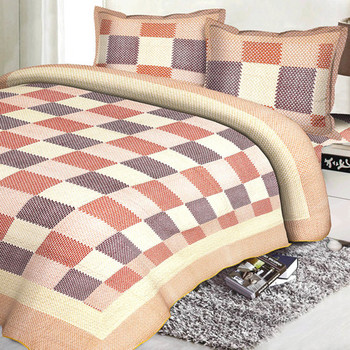 Multicolor Cotton Contemporary Print Double Bed Cover