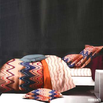 Peach  And  Blue Polyester Bed-Sheets With Chevron Print