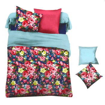 Blue  And  Pink Polyester Bed-Sheets With Deep Floral Print