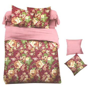 Magenta Polyester Bed-Sheets With Beautiful Floral Print