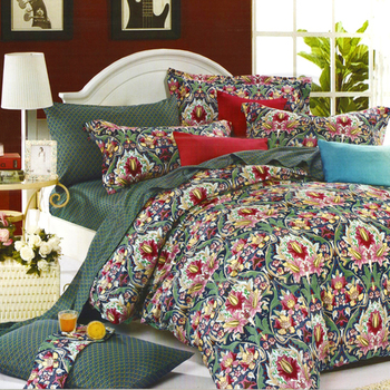 Deep Teal Cotton Double Bedsheet With Spreaded Floral Print