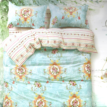 Sweet Blue Cotton Double Bedsheet With Floral Print