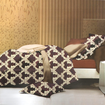 Elegant Maroon  And  Cream Polyester Double Bedsheet With Royal Print