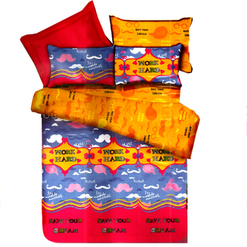Multicolor Polyester Double Bedsheet With Messenger Print