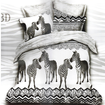 White  And  Black Polyester Double Bedsheet With Zebra Print