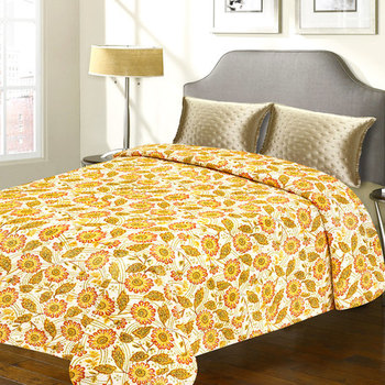 Traditional Yellow Floral Print Katha Work Cotton Double Bed Cover