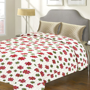 White  And  Red Floral Print Katha Work Cotton Double Bed Cover