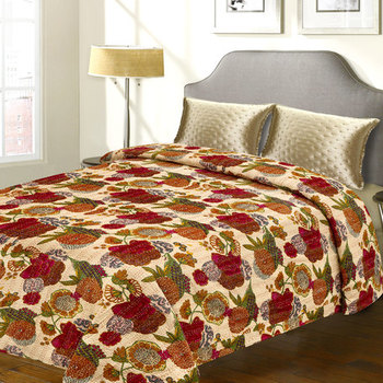 Pure Cotton Double Bed Cover With Floral Print  And  Katha Work