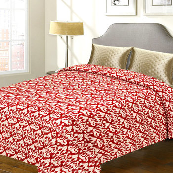 Pure Cotton Double Bed Cover With Contemporary Print  And  Katha Work