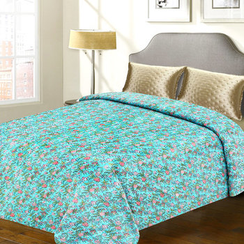 Blue Floral Print Cotton Double Bed Cover With Katha Work