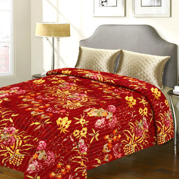 Pure Cotton Double Bed Cover With Floral Motif Design  And  Katha Work