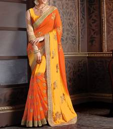 Buy yellow embroidered  saree With Blouse bridal-saree online