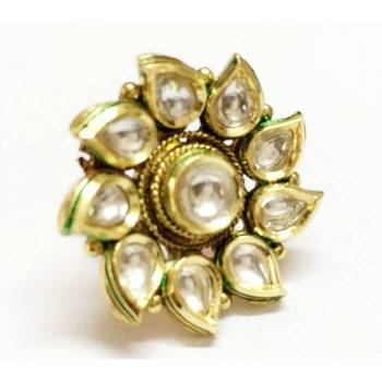 Craftstages Sunflower Kundan look Brass Ring2