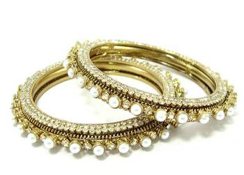 Bridal antique style pearl cz 2pc bangle l2076