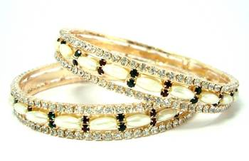 Bridal wear pearl maroon green cz 2pc bangle l3519