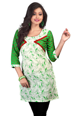 White And Green Chanderi Cotton Printed Kurti