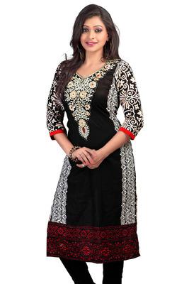 Attractive Black Cambric Cotton Printed Kurta