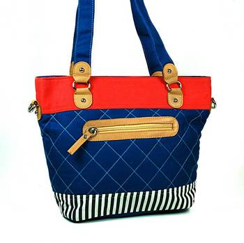Blue Canvas Quilted Shopper