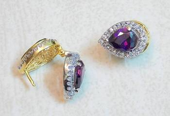 Hot selling Latest 2 in 1  Cz Swarovski Crystals Big Purple and kundan earring studs