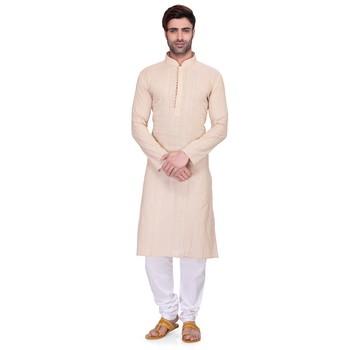Cream Men's Full Sleeve kurta pajama