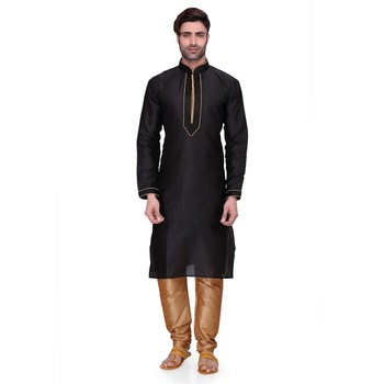 Black Men's Full Sleeve kurta pajama