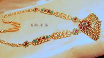 royal ruby green gold tone polki waist belt