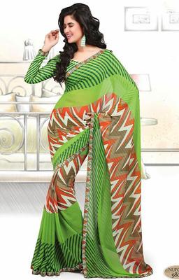 Designer Printed Bhagpuri Saree With Blouse