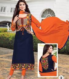 Buy Blue georgette embroidered semi stitched salwar with dupatta women-ethnic-wear online