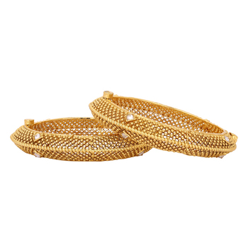 Gold Plated Rich Square Stone Studded Pure Antique Traditional Bangle Set For Womens
