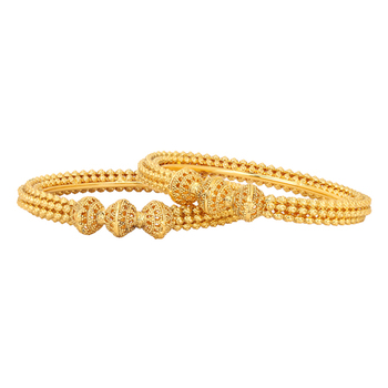 Gold Plated Royal Golden Beads Studded Traditional Ethnic Bangle Set For Womens