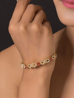 Gold Plated Designer Ruby And Zircon Bangles