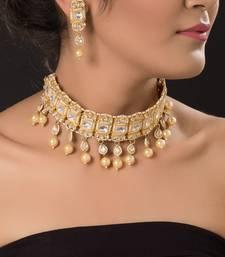 Buy gold plated kundan choker set necklace-set online