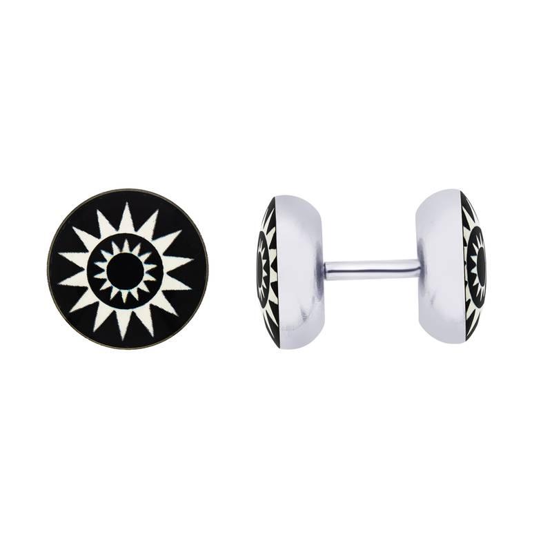 Buy Earrings Men Boys Studs Black Sun Design Piercing Fashion Bali ...