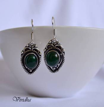 Antique Style Dangler Earrings with Green Stone