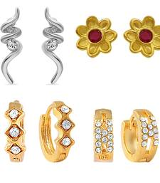 Buy Gold & Rhodium Plated Floral Stud & Bali combo with Ruby & Crystal For Women hoop online
