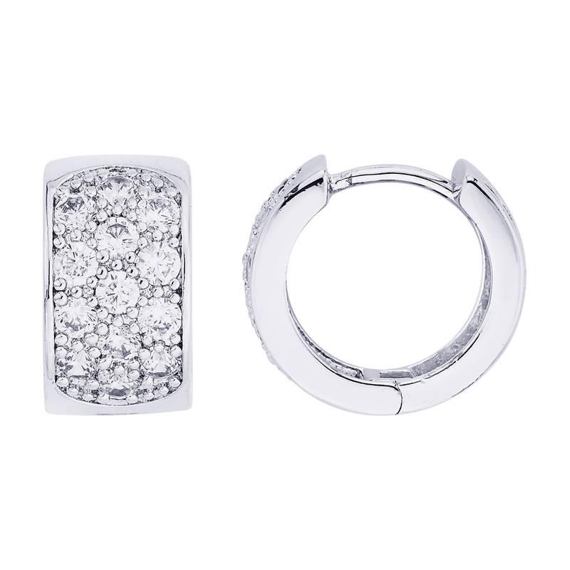 Earrings Men Boys Studs Silver Round Diamonds Piercing Fashion Bali