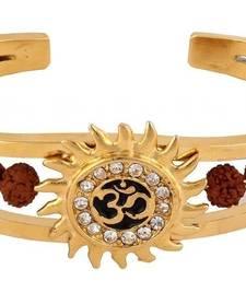Buy Bracelet for Men Boys Gold Stainless Steel OM Rudraksha CZ Gold Plated men-bracelet online