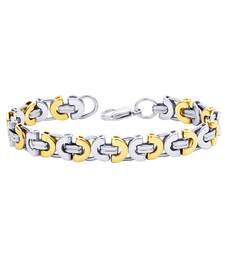 Buy Bracelet for Men Boys Gold Stainless Steel Byzantine Design Fashion men-bracelet online