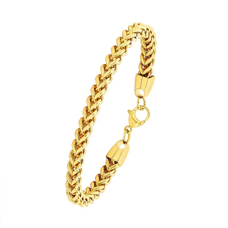 Buy Bracelet For Men Boys Gold Stainless Steel Curb Design Fashion