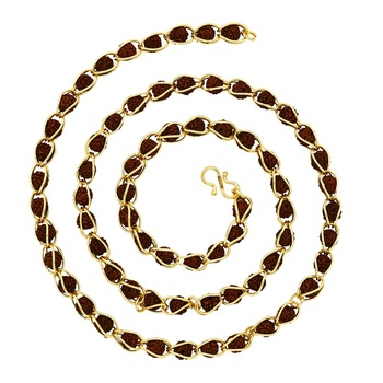 Religious gold brass plated rudraksha mala short link chain men and boys